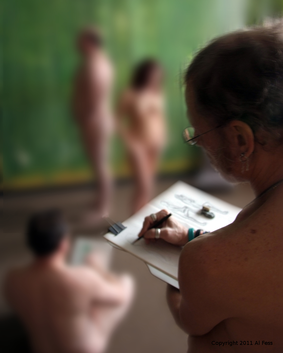 A photo of two nudes sketching two other nudes. Copyright 2011 Al Fess
