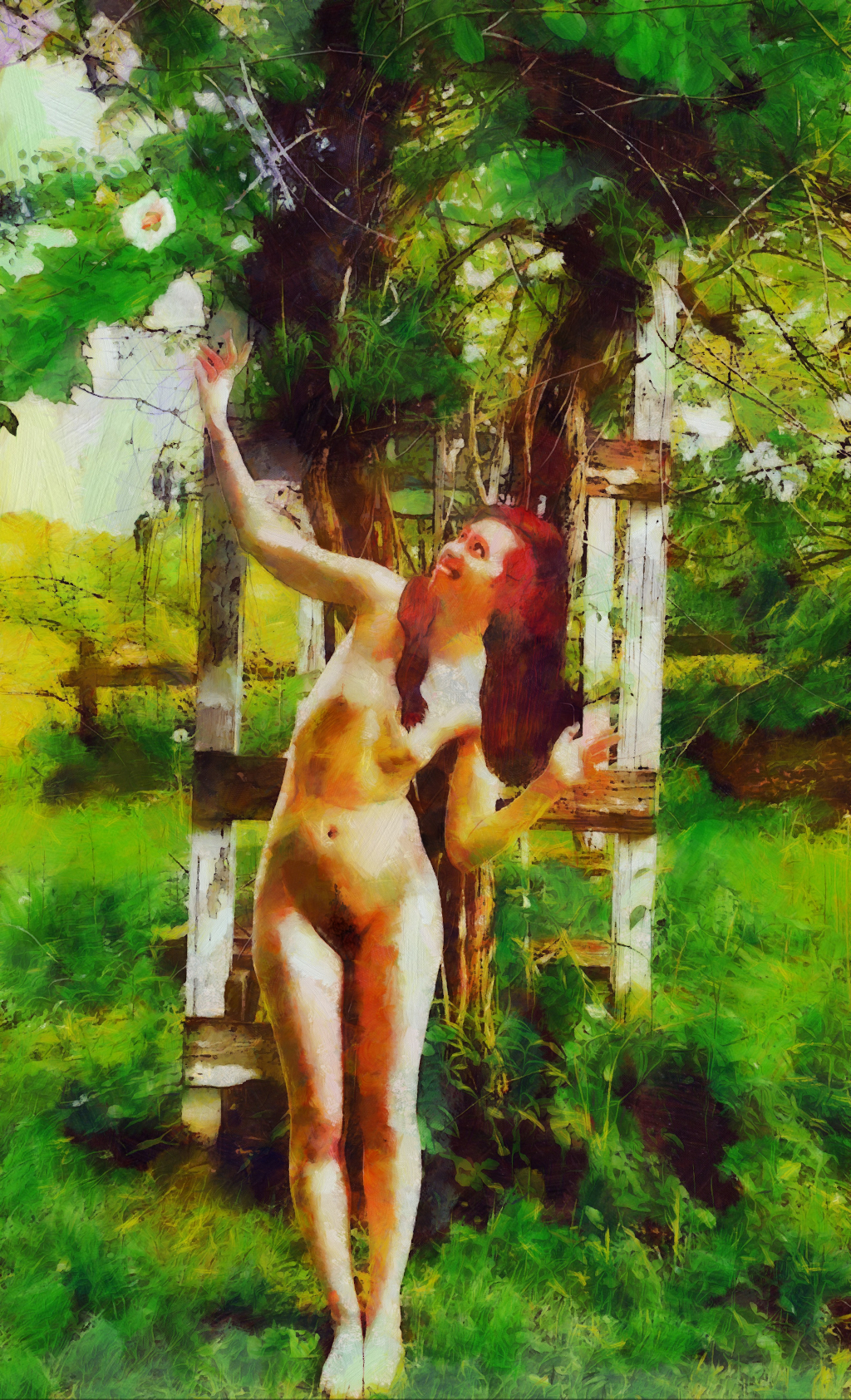Rose of Sharon: art of a nude woman picking a blossom of a Rose of Sharon