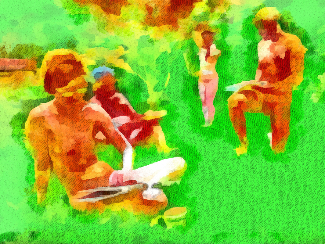 Drawing on the Grass: four nudes at an art event