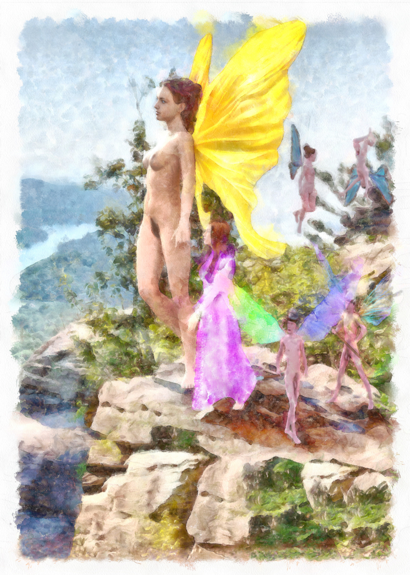 Fey Ley Overlook: Nude fairies looking over a valley