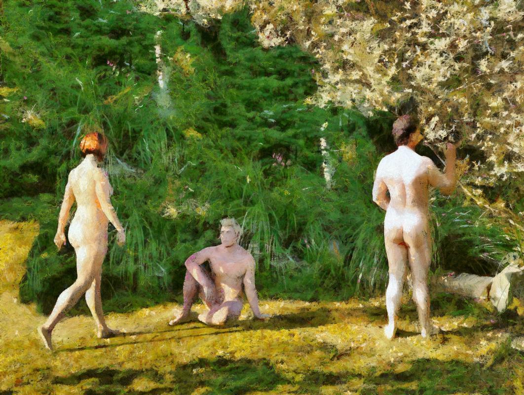 Greensward - three nudes on grass