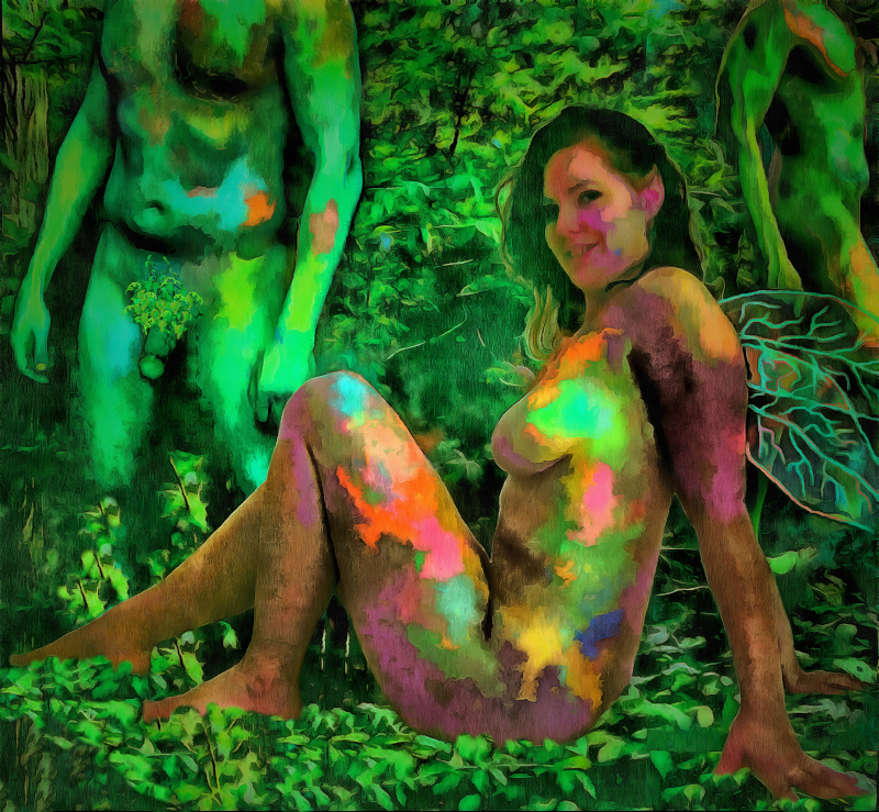 Dark Forest Fairies: Nude fairies, male and female, in the forest