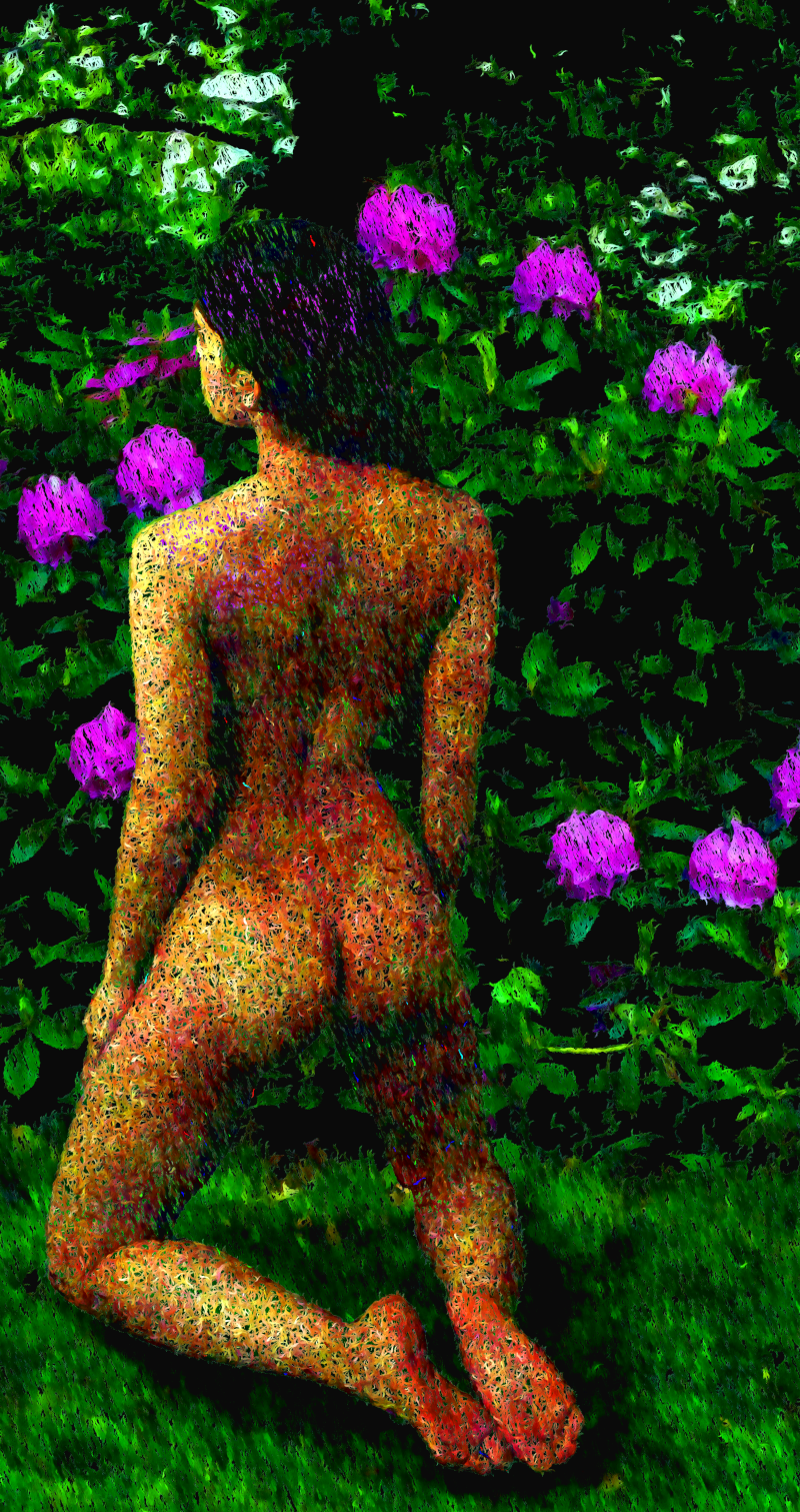 An Aspect of Nature: Image of a nude woman with flowers