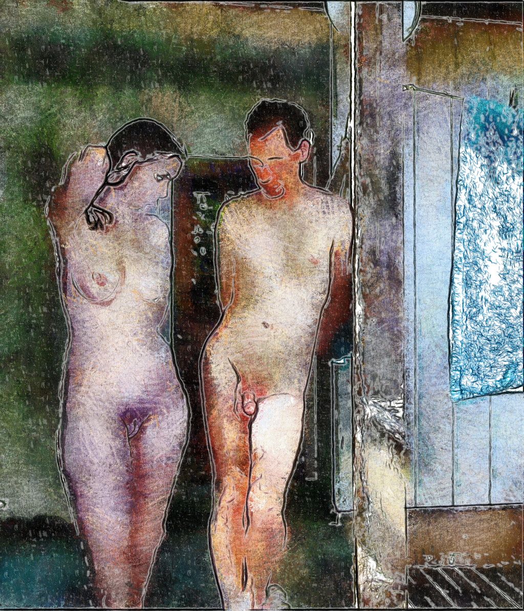 Nude couple on porch