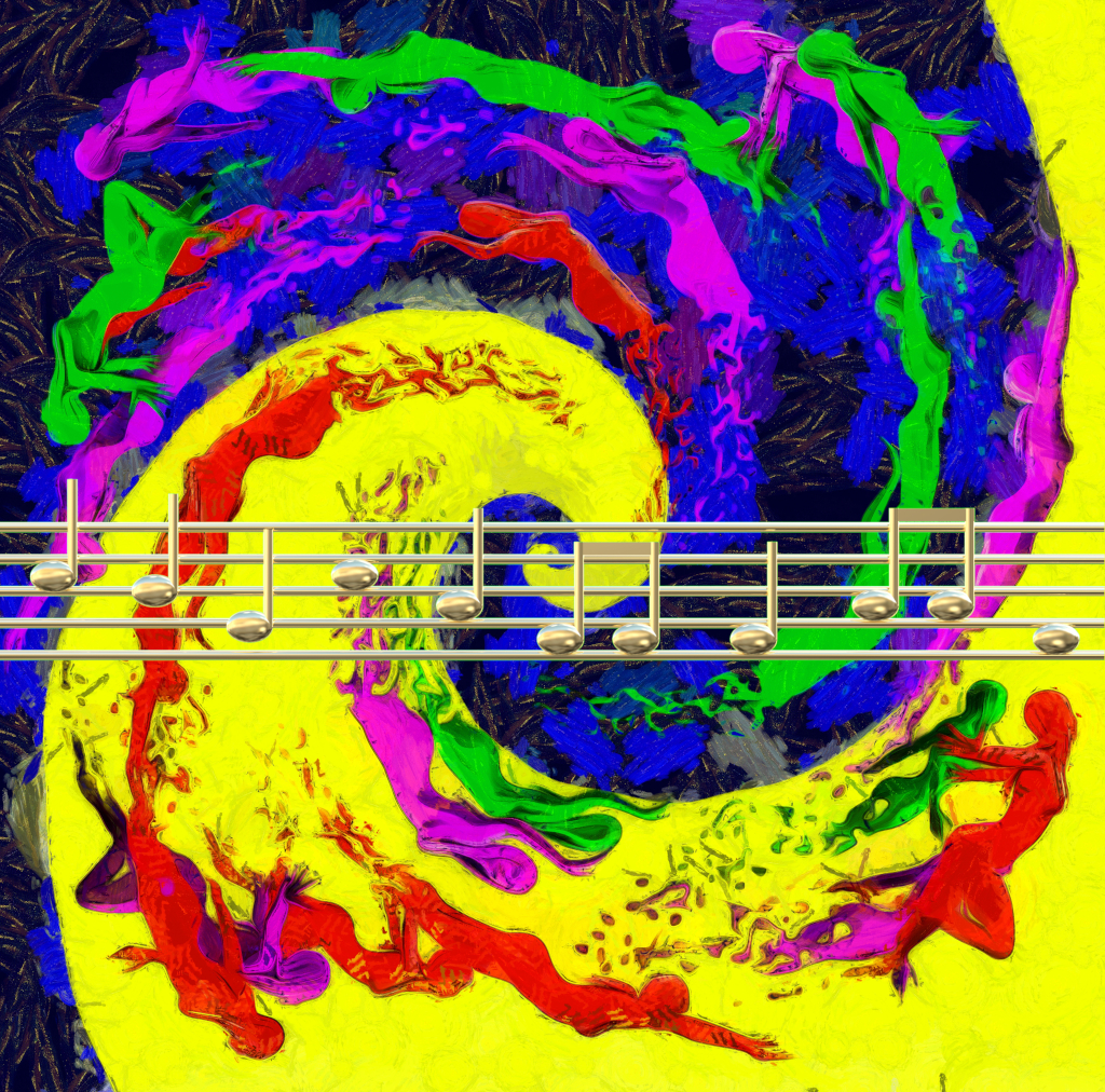 Sound Paintings: A swirl of color composed of nude figures with a golden music staff superimposed