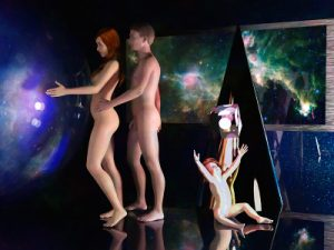 A sci-fi scene with nudes playing with high-tech toys.