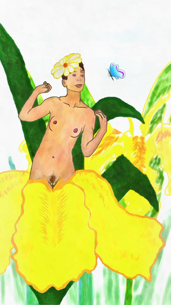 A nude woman with a flower for a hat emerges from a yellow bearded iris and daintily observes an azure butterfly.