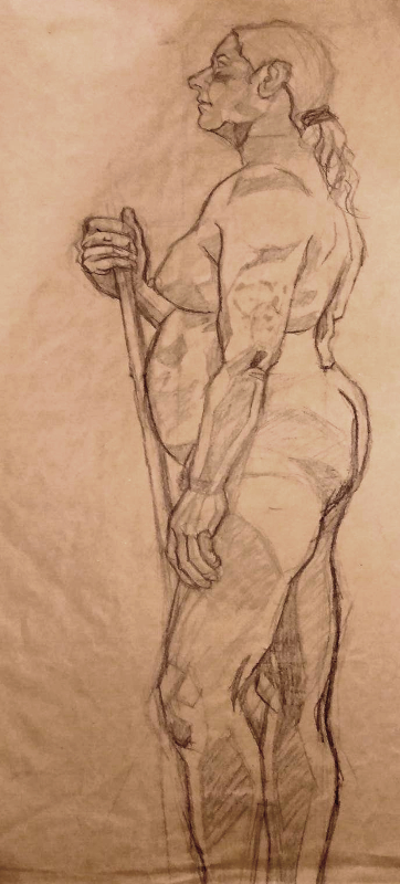 nude woman with staff